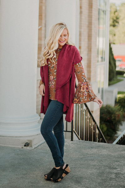 {LAST CHANCE} Polly Poncho Shawl ~ Burgundy