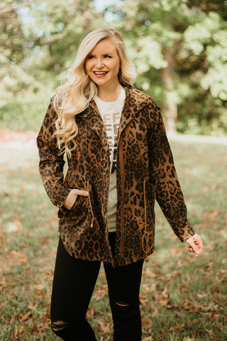 Lora Washed Utilitarian Jacket ~ Leopard