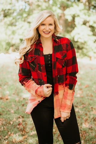 {Last Chance} Acid Washed Plaid Top ~ Red/Black