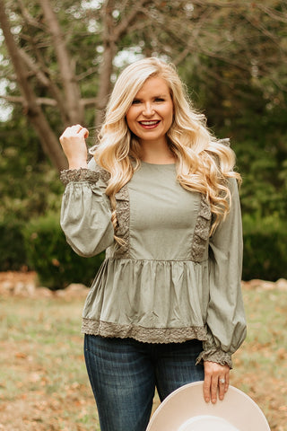 Raelyn Suede Ruffle Top ~ Olive
