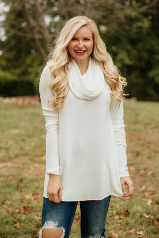 *NEW* Adorable Cowl Neck Knit Top ~ Ivory