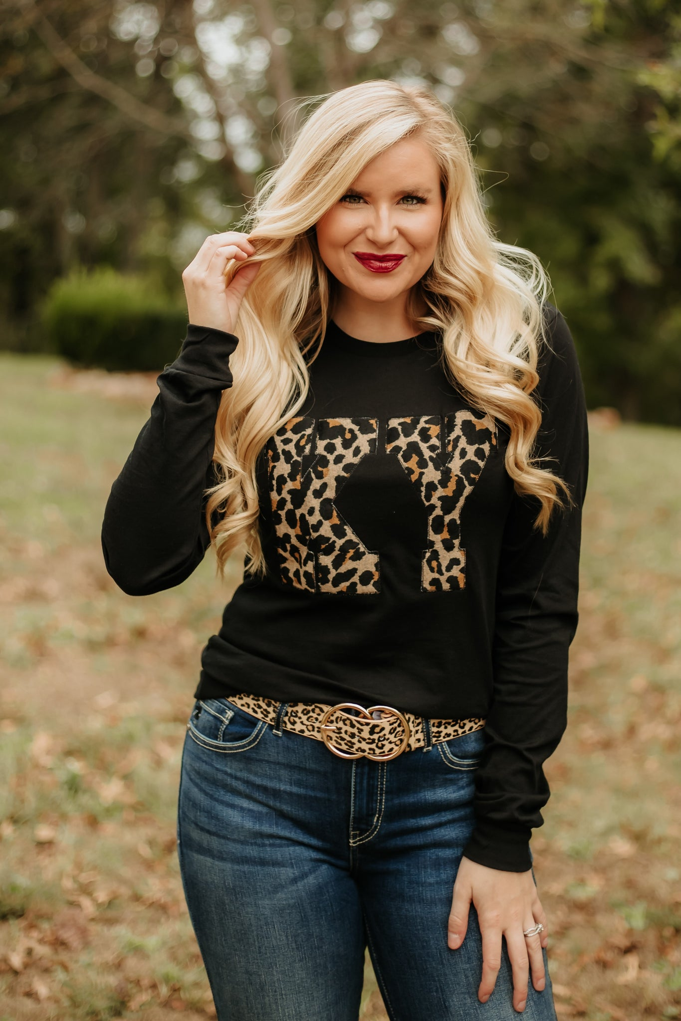 *NEW* KY Leopard Graphic Long Sleeve Tee ~ Black