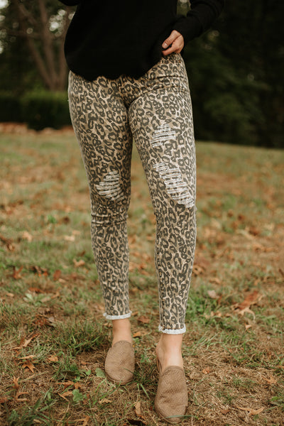 Ariele Animal Print Skinny Bottoms ~ Brown - Be You Boutique