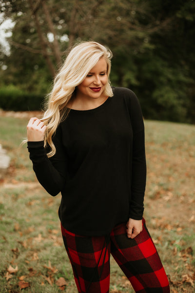 *NEW* Camryn Round Neck Long Sleeve Top ~ Black