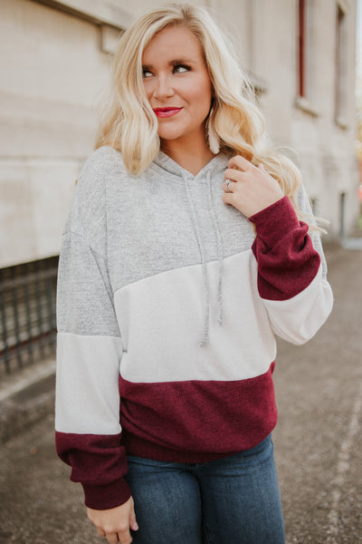 Hannah Color Block Hoodie ~ Burgundy