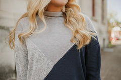 {LAST CHANCE} Don't Mock Me Dolman Sleeve Top ~ Navy / Grey