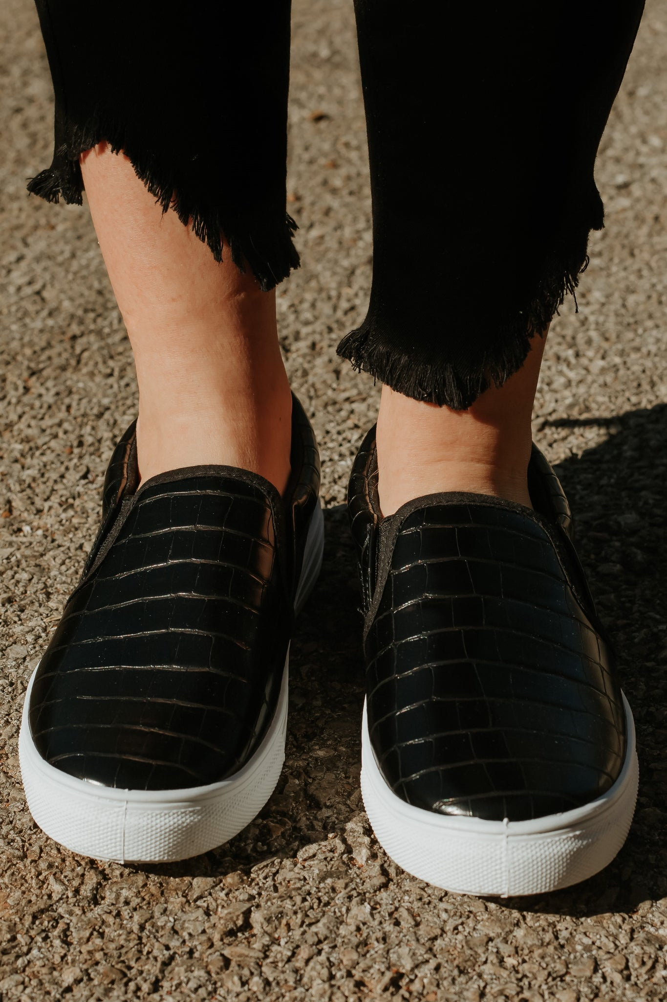 {Last Chance} Reba Step In Sneakers ~ Black Crocodile *FINAL SALE* - Be You Boutique
