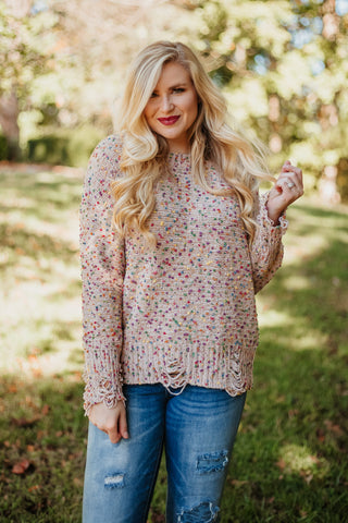 Solstice Distressed Confetti Sweater ~ Taupe
