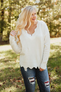 *NEW* Scallop Dreams V-Neck Sweater ~ Cream