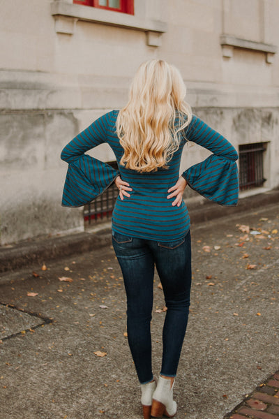 {LAST CHANCE} Lacey Bell Sleeved Stripe Top ~ Teal/Charcoal
