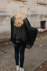 *NEW* Mona Crochet Tassel Poncho ~ Black