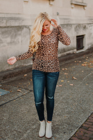 {LAST CHANCE} Crazy Train Layer Your Leopard **Mesh Longsleeve** Top ~ Leopard