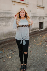 *NEW* Thelma V Neck Angora Top with Contrast ~ Grey