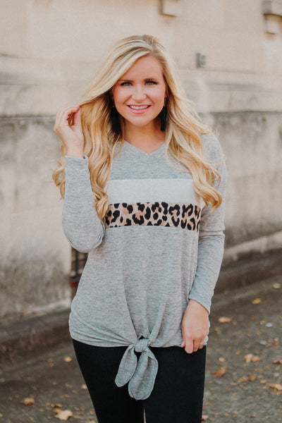 Thelma V Neck Angora Top with Contrast ~ Grey