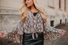 *NEW* Double Ruffle Tie Front Top ~ Taupe / Snake