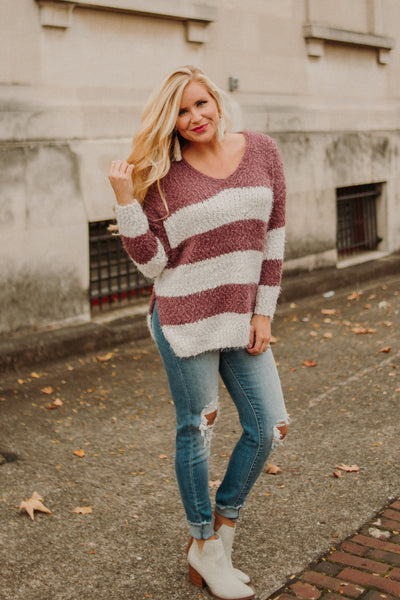 Stripes Of Love Popcorn Sweater ~ D Plum/ Ivory