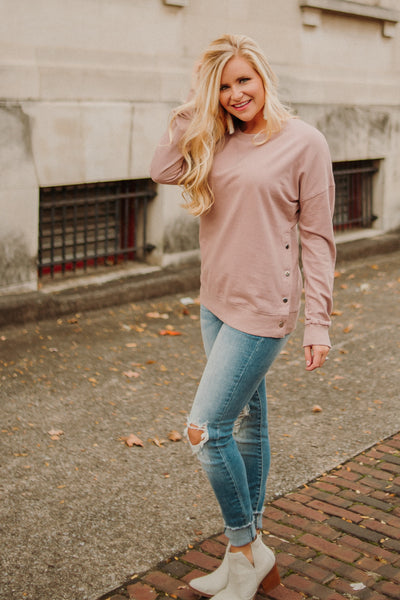Xavier Snap Button Sweatshirt ~ Mauve
