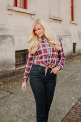 {Last Chance} All Tied In Checks ~ Burgundy