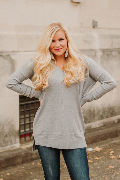 All Day V Neck Sweater ~ Grey
