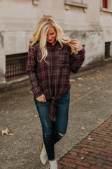 Renae Button Down Plaid Tie Front Top ~ Burgundy