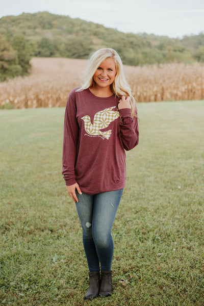 {Last Chance} Peace On Earth Graphic Tee ~ Maroon