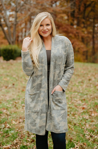 Soft & Cozy Brushed Ellison Cardigan ~ Camo