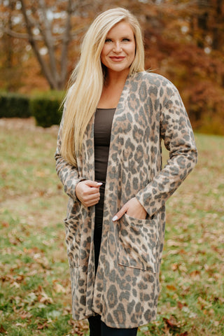 Soft & Cozy Brushed Ellison Cardigan ~ Leopard