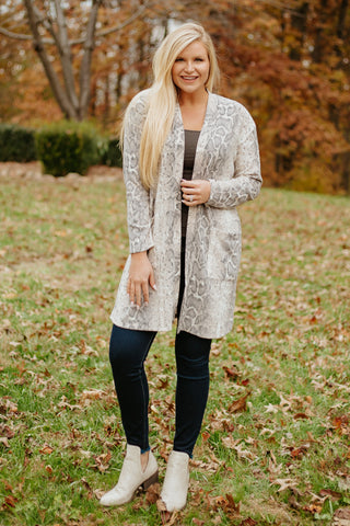 Soft & Cozy Brushed Ellison Cardigan ~ Snake Print
