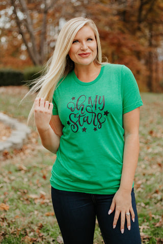 {Last Chance} Oh My Stars Graphic Tee ~ Heather Kelly Green *FINAL SALE* - Be You Boutique