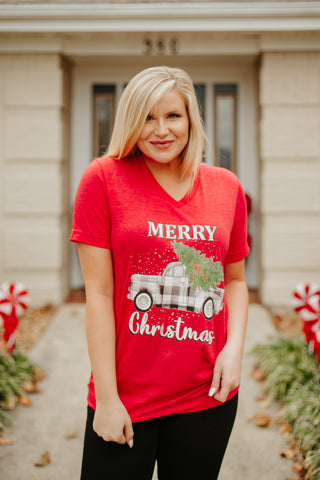 *NEW* Keep On Truckin Christmas Graphic Tee ~ Red