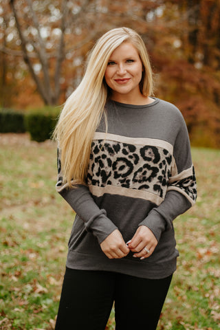 *NEW* Lainey Long Sleeve Knit Top ~ Animal Print Contrast/Grey