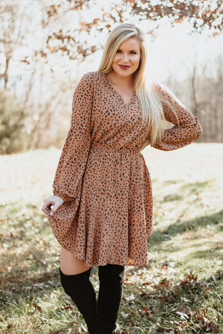 *NEW* Gia Animal Print Full Round Hem Dress ~ Light Brown/Black