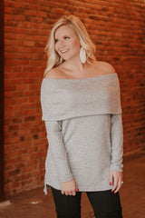{LAST CHANCE} Heather Hacci Brushed Off Shoulder Top ~ Grey