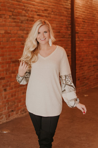 *NEW* Snake Print Contrast Top ~ Oatmeal