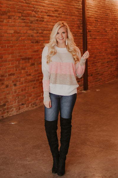 *NEW* Maddi Stripe Sweater ~ Grey Blush