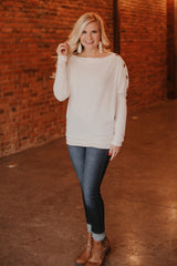 {LAST CHANCE} Benny Button Boatneck Top ~ Cream