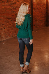 *NEW* Benny Button Boatneck Top ~ Green