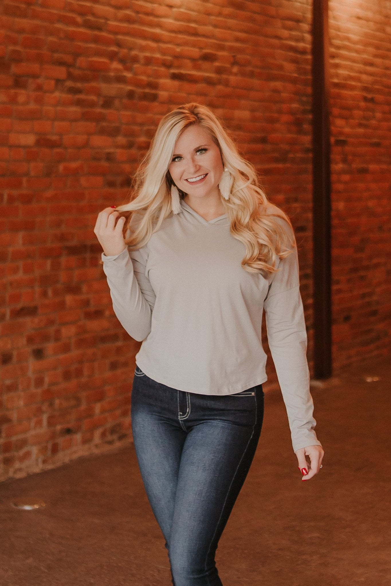{LAST CHANCE} Connie Crop Hoodie ~ Taupe Grey *FINAL SALE* - Be You Boutique