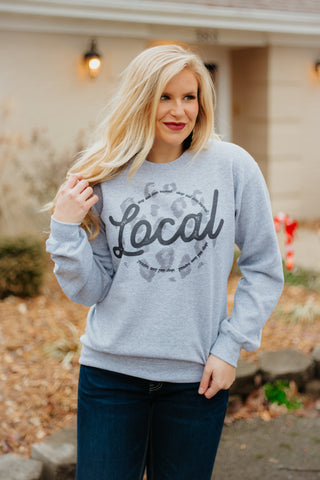 *NEW* Shop Local Leopard Sweatshirt ~ Grey