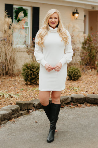 Audra Knit Turtle Neck Long Sleeve Dress ~ Ivory