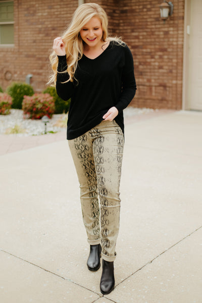 {Last Chance} Sydney Snakeskin Distressed Pants ~ Faded Olive *FINAL SALE* - Be You Boutique