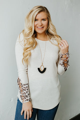 {Last Chance} Paisley Long Sleeve Top, Animal Print Detail ~ Oatmeal *FINAL SALE*