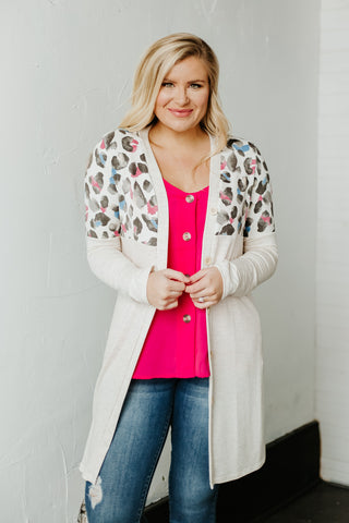*NEW* Amina Animal Print Contrast Cardigan ~ Oatmeal