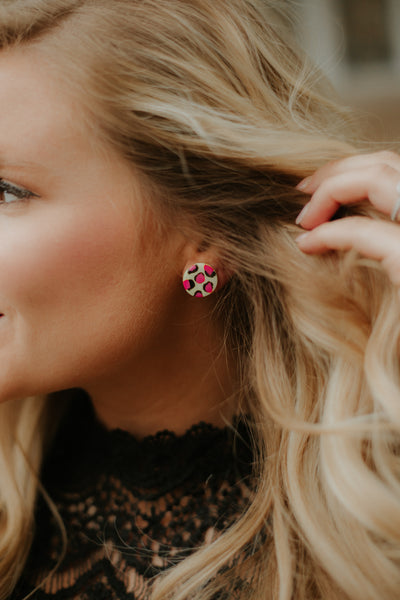 *NEW* Be A Leopard Stud Earrings ~ Yellow & Pink