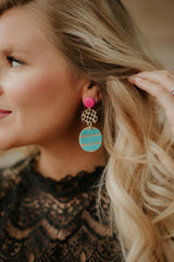 *NEW* Mix It Up Clay Earrings ~ Pink & Turquoise
