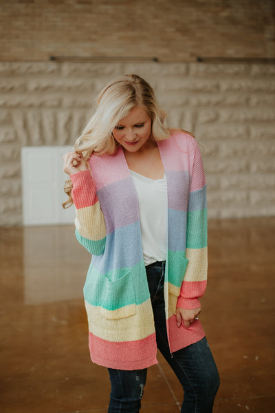 Rainbow Colors Cardigan ~ Multi
