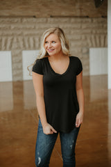 *NEW* Lana V Neck Pocket Tee ~ Black