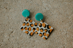 *NEW* Be Diamond White Leopard Clay Earrings ~ Teal