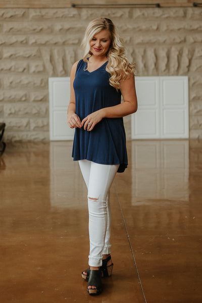Betty Basic V Neck Tunic ~ Navy