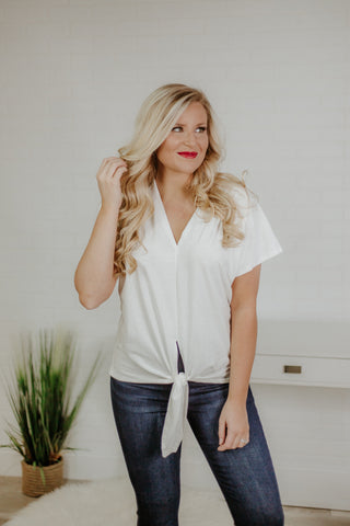 {LAST CHANCE} Wanda Front Knot Top ~ White